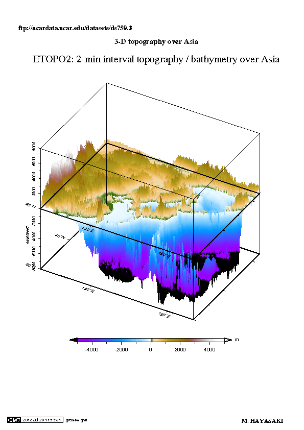 Elevation and ocean depth over E. Asia